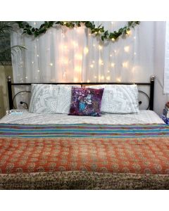 Flower Bucket and Paisley Kantha Quilt
