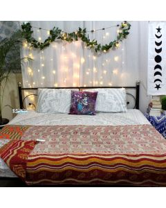 Paisley and Leaves Kantha Quilt
