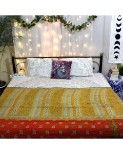 Yellow Red Floral Sari Quilt