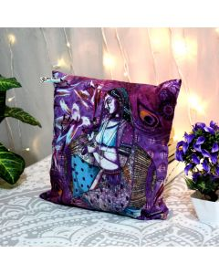Purple Woman printed with stone work Decorative Pillow Zip