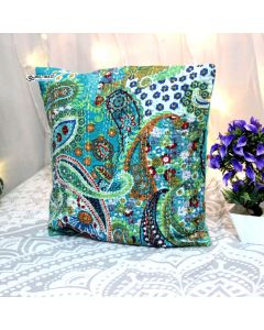 Turquoise Paisley Kantha Decorative Pillow