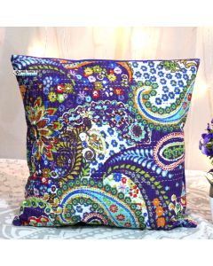 Purple Paisley Kantha Decorative Pillow