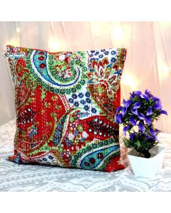 Red Paisley Kantha Decorative Pillow
