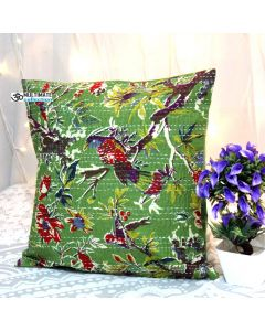 Green Bird Kantha Decorative Pillow
