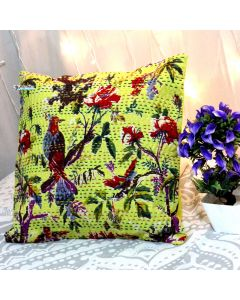 Yellow Bird Kantha Decorative Pillow