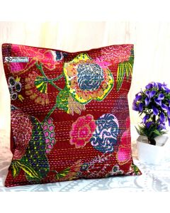 Maroon Floral Decorative Pillow
