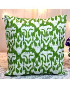 Green Ikat  Kantha Decorative Pillow