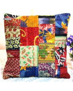 Recycled sari patchwork pillow Model 16