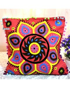 Red Suzani Decorative Pillow