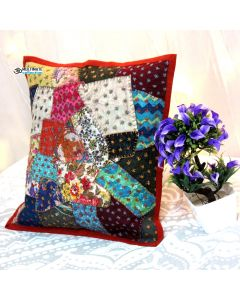 Red Patchwork Stone Washed Pillow
