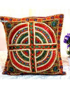 MultiColor Embroidered and mirror work pillow