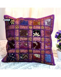 Purple Cotton Handmade Throw Decorative Pillow Sham 16 x 16 in