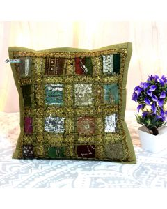 Biege Cotton Handmade Throw Decorative Pillow Sham 16 x 16 in