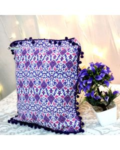 Purple Decorative Pillow with pom pom