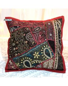Maroon Beaded Patchwork Antique Pillow