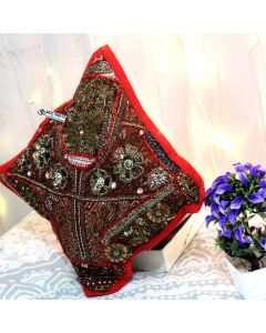 Red Beaded Patchwork Antique Pillow