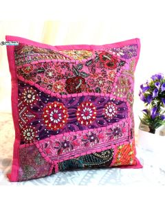 Pink Beaded Patchwork Antique Pillow