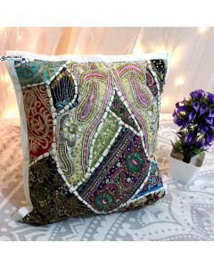 White Beaded Patchwork Antique Pillow
