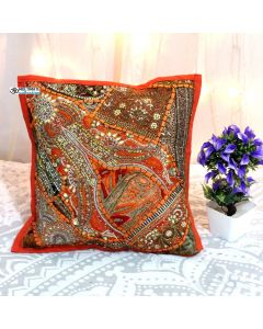 Orange Beaded Patchwork Antique Pillow