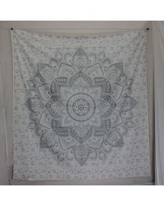 Silver Lotus Design Large Wall Tapestry