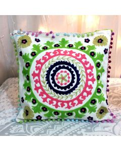White Suzani Decorative Pillow