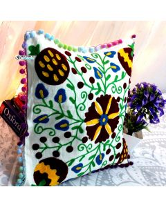 White Floral Suzani Decorative Pillow