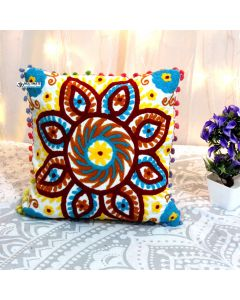 Yellow Floral Suzani Decorative Pillow