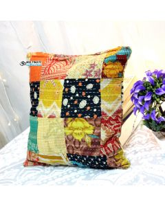 Multicolor Recycled sari patchwork pillow Model 15
