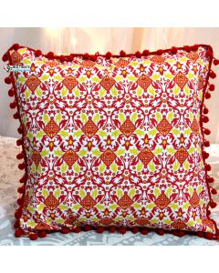 Red Decorative Pillow with pom pom