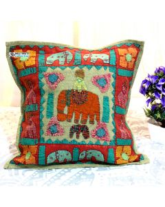 Beige Patchwork Elephant Decorative Pillow