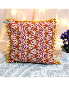 Yellow Decorative Pillow with pom pom