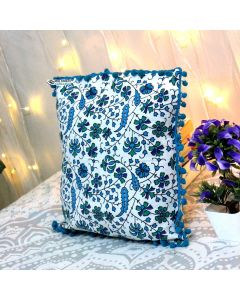 Turquoise Decorative Pillow with pom pom
