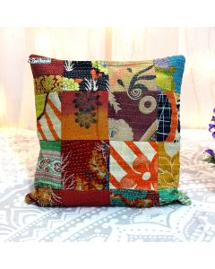 Multicolor Recycled sari patchwork pillow Model 17