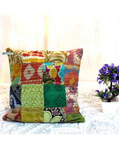 Multicolor Recycled sari patchwork pillow Model 18
