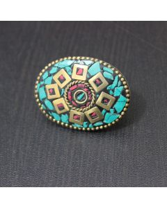 Bohemian Mosaic Tile Brass Ring