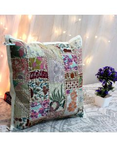 White Vintage Collage Cushion Cover