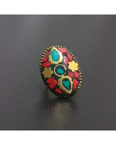 Boho Chic Mosaic Tile Brass Ring