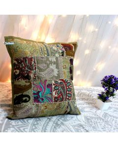 Beige Vintage Collage Cushion Cover