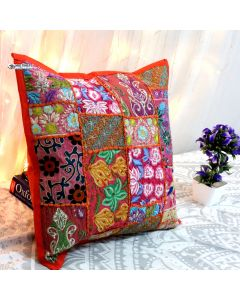 Orange Vintage Collage Cushion Cover