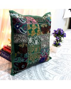 Green Vintage Collage Cushion Cover