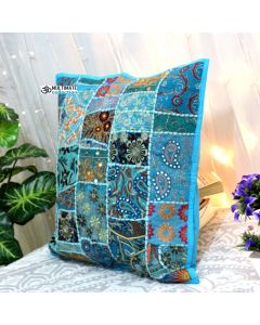 Turquoise Vintage Collage Cushion Cover