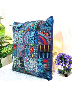 Navy Blue Vintage Collage Cushion Cover