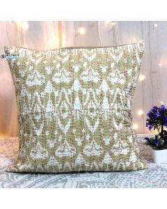 Beige Ikat  Kantha Decorative Pillow