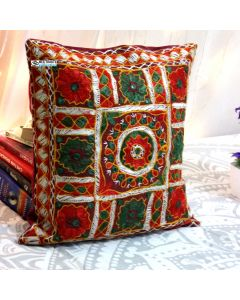 Multicolor Embroidered and mirror work pillow Model 3