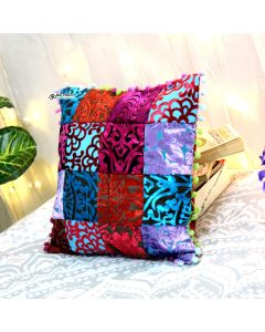 Multicolor velvet embroidered Pillow