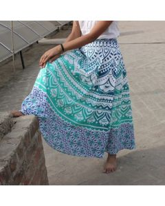 Emerald Indian Mandala Wrap Round Skirt
