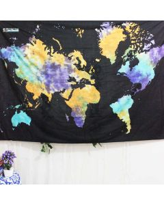 Multicolor World Map Small Tapestry