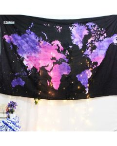 Black World Map Small Tapestry