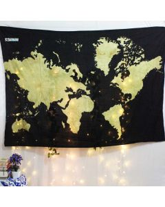 Yellow World Map Small Tapestry