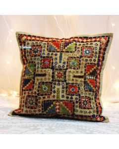 Beige Embroidered and mirror work pillow